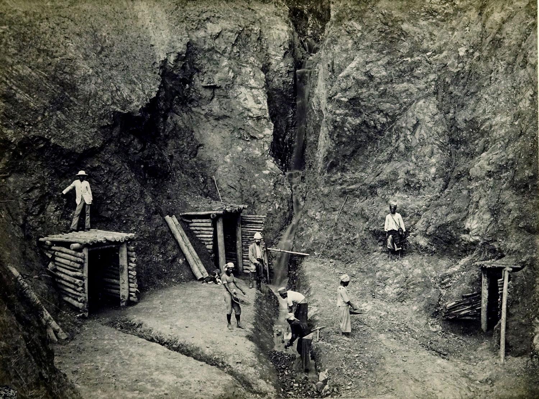 Minenarbeiter in Indonesien im 19.Jahrhundert