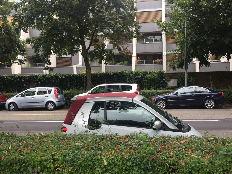 Hinter einer Hecke ist ein Auto zu sehen, dahinter eine Strasse und ein Neubau