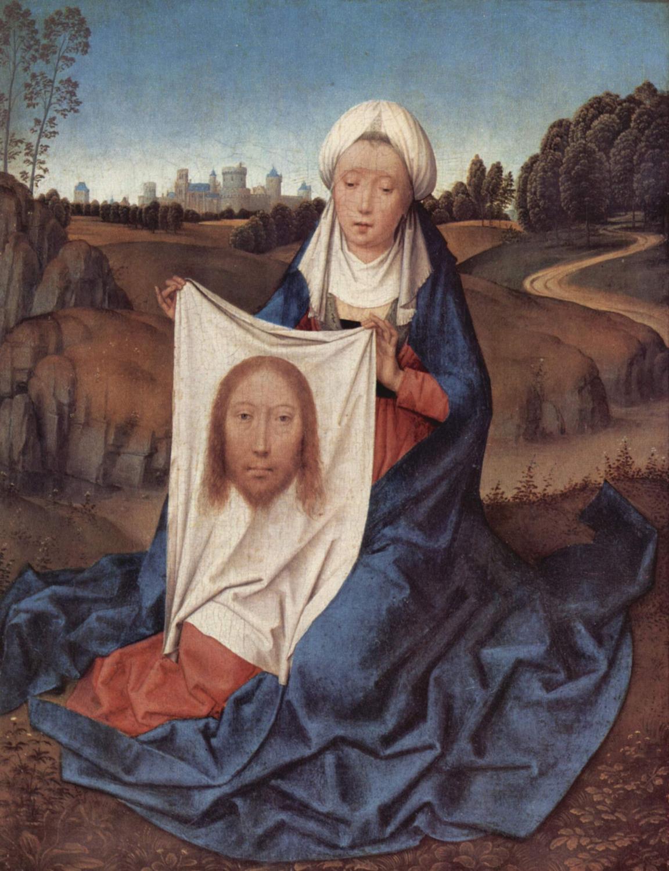 Veronika mit dem Schweisstuch. Gemalt von Hans Memling