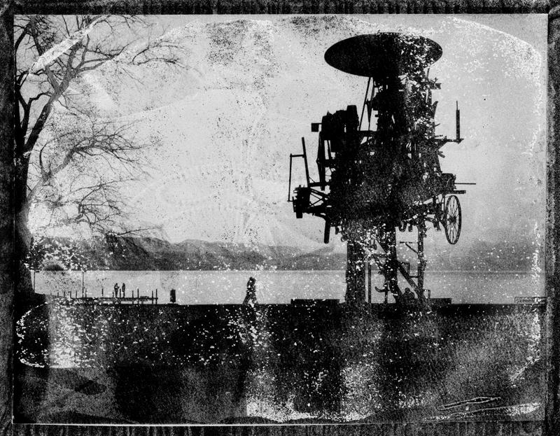 Stadtlandschaft aus Polaroidabfall-Material