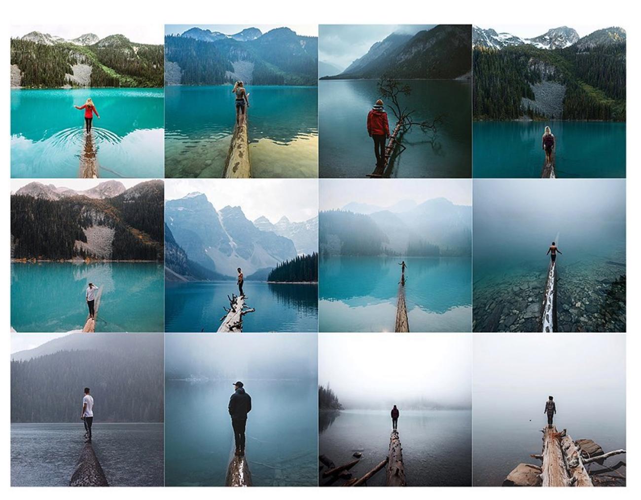 Screenshot von Instagram_repeat: Viele Bilder zeigen Menschen auf Stegen auf dem See
