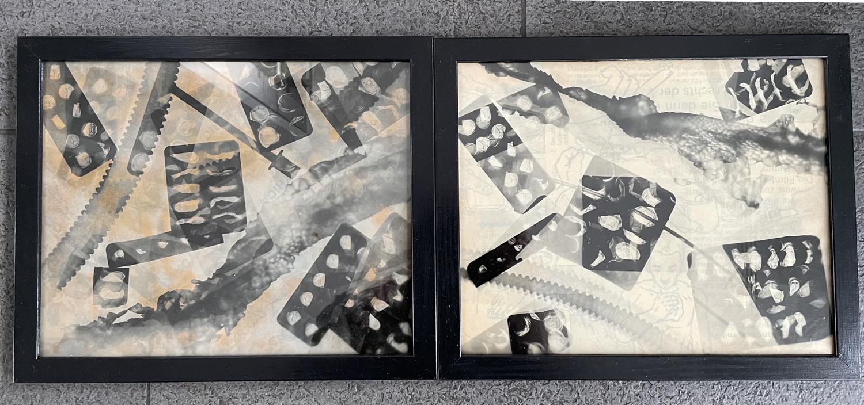 Zwei Fotogramm-Collagen von Eleni Trupis